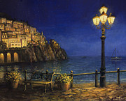 Night Lamp Painting Posters - Summer Evening in Amalfi Poster by Kiril Stanchev