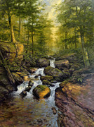 Falls Paintings - Summer Evening Long Valley by David Henderson