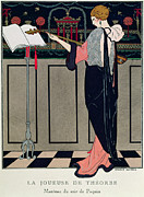 Evening Wear Painting Metal Prints - Summer Evening Wear from Art Gout Beaute Metal Print by Georges Barbier
