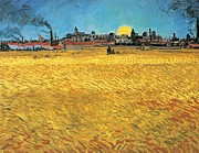 Horizon Paintings - Summer evening wheat field at sunset by Vincent van Gogh
