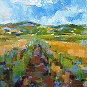 Pallet Knife Prints - Summer Field 1 Print by Becky Kim