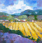 Pallet Knife Photo Posters - Summer Field 2 Poster by Becky Kim