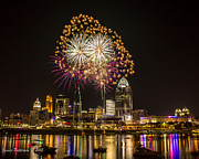 Cincinnati Digital Art Framed Prints - Summer Fireworks over Cincinnati Framed Print by James Patterson