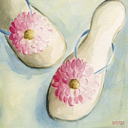 Flip Framed Prints - Summer Flip Flops Shoe Paintings Framed Print by Beverly Brown Prints