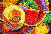 Cantaloupe Paintings - Summer fruit by JAXINE Cummins