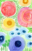 Summer Garden Blooms- Watercolor Painting Print by Linda Woods