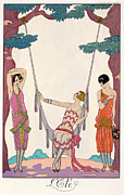 Short Hair Framed Prints - Summer Framed Print by Georges Barbier
