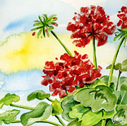 Geraniums Framed Prints - Summer Geraniums Framed Print by Annie Troe