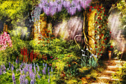 Flower Gardens Metal Prints - Summer - I found the lost temple  Metal Print by Mike Savad