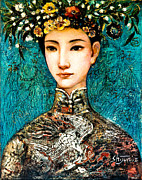 Headdress Painting Framed Prints - Summer II Framed Print by Shijun Munns