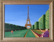 Original  By Artist Paintings - Summer in Paris by Ron Davidson