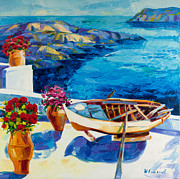 Cross Art Paintings - Summer in Santorini by Ivailo Nikolov