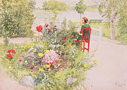 Lady In Red Painting Framed Prints - Summer in Sundborn Framed Print by Carl Larsson