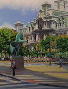Philadelphia Scene Paintings - Summer in the City by Elaine Lisle