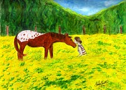 Horse And Flowers Framed Prints - Summer Love Painting Framed Print by Tracy Smith