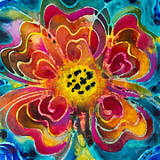 Abstract Floral Art Paintings - Summer Love by Sharon Cummings