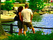 Summer Along The Canal Paintings - Summer Lovers Romantic Couple At Waters Edge Lachine Canal Montreal Summer Scene Art Carole Spandau by Carole Spandau
