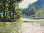 Blue Ridge Parkway Paintings - Summer Magic at Abbott Lake by Janet Wimmer