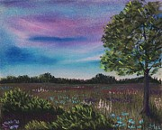Purple Pastels Posters - Summer Meadow Poster by Anastasiya Malakhova