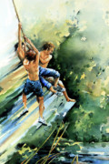 Three Boys Jumping Into Water From Rope Swing Prints - Summer Memories Print by Hanne Lore Koehler
