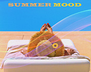 Beach Towel Digital Art Posters - Summer Mood Poster by Eleni Mac Synodinos