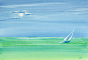 Sailboat Ocean Painting Originals - Summer Moonlight Sail by Michelle Wiarda