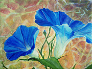 Morning Glories Paintings - Summer Morning by Arlissa Vaughn