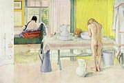 Hair-washing Painting Posters - Summer Morning pub in Lasst Licht Hinin Let in More Light Poster by Carl Larsson
