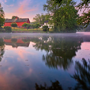 Red Barn Prints - Summer Morning Square Print by Bill  Wakeley
