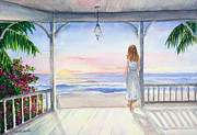 Beach Scene Painting Originals - Summer Morning Watercolor by Michelle Wiarda