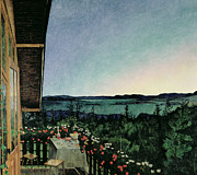 Balcony Metal Prints - Summer Night Metal Print by Harald Oscar Sohlberg