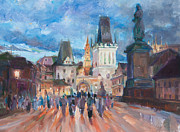 Prague Castle Paintings - summer night in Prague by Vivian  Yue