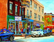 Depanneur Prints - Summer On Saint Viateur Street Strolling By The Bagel Shop And Davids Tea Room  Montreal City Scene Print by Carole Spandau