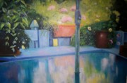 Glass Table Reflection Painting Originals - Summer on the Deck by Marlene Book