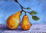 Featured Pastels Posters - Summer Pears Poster by Kelley Smith