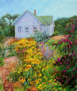 Garden Scene Paintings - Summer Place- On the Outer Banks by Bonnie Mason