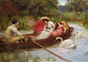 Rowboat Digital Art Posters - Summer Pleasures On The River Poster by George Sheridan Knowles