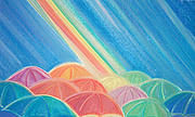 Umbrella Pastels Prints - Summer Rain by jrr Print by First Star Art
