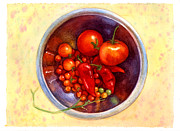 Tomatos Painting Metal Prints - Summer Reds Metal Print by Isabella Kung