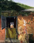 Doves Paintings - Summer Reflection by Timothy  Easton