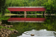 Tourist Attractions Posters - Summer Reflections at West Cornwall Covered Bridge Poster by Thomas Schoeller
