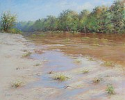 Printed Pastels Prints - Summer River Print by Nancy Stutes