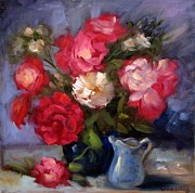Red Bouquet Paintings - Summer Roses by Karin  Leonard