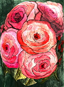 Roses Mixed Media Framed Prints - Summer Roses Framed Print by Nancy TeWinkel Lauren