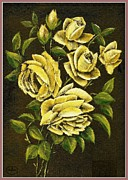 Vase Of Flowers Posters - Summer Roses Poster by Ronald Chambers