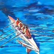 Sculls Paintings - Summer Rowers by Garth Bayley