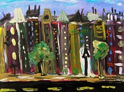 City Scene Drawings - Summer Rowhouses by Mary Carol Williams