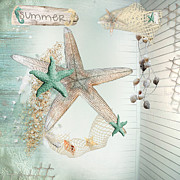 Starfish Digital Art - Summer Sea Treasures  by Debra  Miller