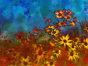 Daisy Art - Summer Sizzle abstract flower art by Ann Powell