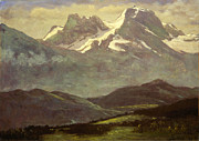 Famous Artists - Summer Snow on the Peaks or Snow Capped Mountains by Albert Bierstadt
